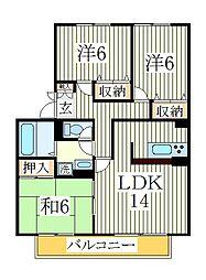 アンクレージュ新柏D[1階]の間取り
