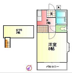 第1プリンスハイツ[1-B号室]の間取り