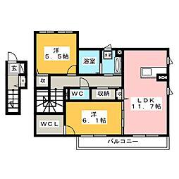 メルベーユ桜[2階]の間取り