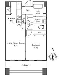リバーシティ21イーストタワーズII 27階1LDKの間取り