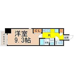 レジデンシア鶴舞公園 7階1Kの間取り
