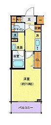 京急本線 六郷土手駅 徒歩2分の賃貸マンション 2階1Kの間取り