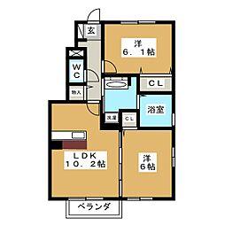 D−room・ヤマイチB[1階]の間取り