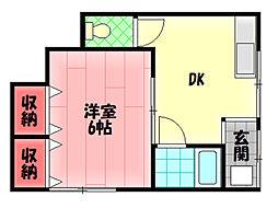京阪本線 守口市駅 徒歩7分の賃貸アパート 1階1DKの間取り