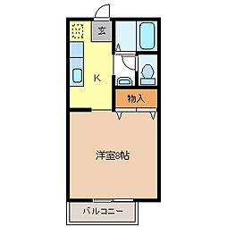 カレッジハイツ三輪[2階]の間取り