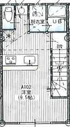 JR奥羽本線 天童駅 徒歩21分の賃貸アパート 2階ワンルームの間取り