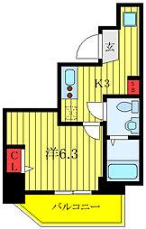 ランヴィ文京千駄木 6階1Kの間取り