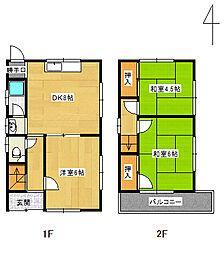 [一戸建] 兵庫県尼崎市武庫之荘6丁目 の賃貸【/】の間取り