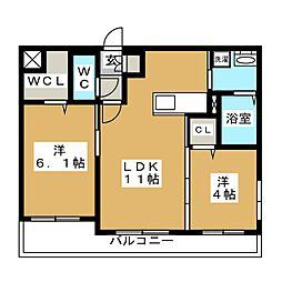 北海道札幌市中央区北七条西25丁目の賃貸マンションの間取り
