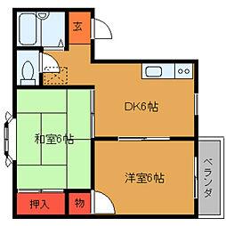 奈良県桜井市戒重の賃貸アパートの間取り