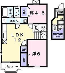 兵庫県姫路市飾磨区今在家北2丁目の賃貸アパートの間取り