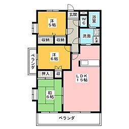 愛知県名古屋市天白区中平4丁目の賃貸マンションの間取り