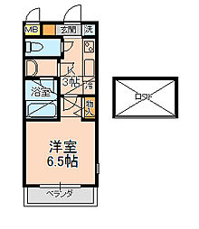 エステート新松戸24[202号室]の間取り