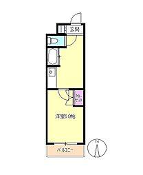 東京都八王子市旭町の賃貸アパートの間取り