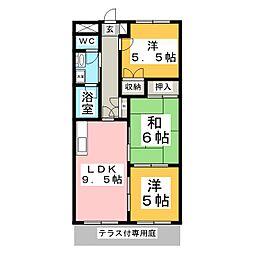 プリベール南吉成[1階]の間取り