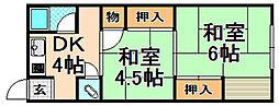兵庫県伊丹市行基町3丁目の賃貸アパートの間取り