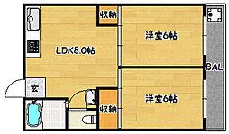 兵庫県神戸市兵庫区神田町の賃貸マンションの間取り