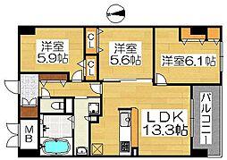 大阪府堺市北区中長尾町3丁の賃貸マンションの間取り