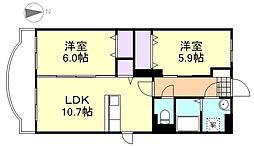 岡山県倉敷市西阿知町の賃貸マンションの間取り