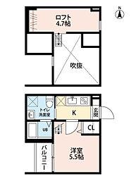 愛知県名古屋市中村区鈍池町2丁目の賃貸アパートの間取り