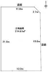 北東角地。東側 幅員約9.09m公道に約19m接面、北側 幅員約5.45m公道に約11m接面