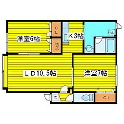 北海道札幌市東区北二十四条東7丁目の賃貸アパートの間取り