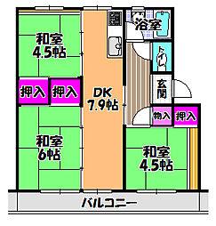 UR金剛マンション 306棟[4階]の間取り