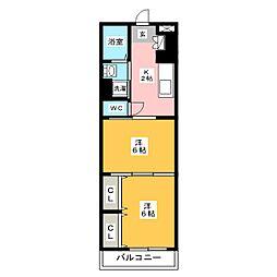リファレンス箱崎 14階2Kの間取り