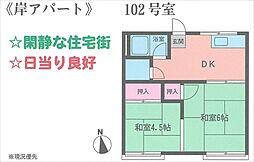 岸アパート[102号室号室]の間取り