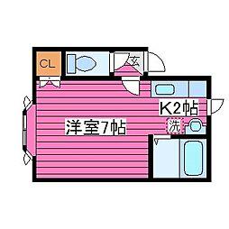 北海道札幌市北区あいの里二条4丁目の賃貸アパートの間取り