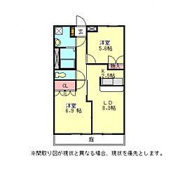 愛知県一宮市三条字酉新田の賃貸アパートの間取り