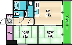 ハイムK2 3階2LDKの間取り