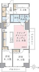 Brillia ist 東雲キャナルコート 8階2SLDKの間取り