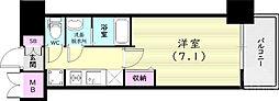 プレサンス兵庫ヴィアーレ 9階1Kの間取り