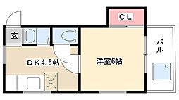 愛知県名古屋市瑞穂区亀城町6丁目の賃貸アパートの間取り