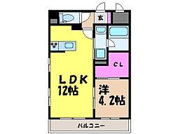 愛媛県松山市居相2丁目の賃貸マンションの間取り
