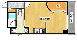 六甲壱番館 2階ワンルームの間取り