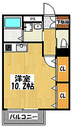 大阪府東大阪市西堤楠町3丁目の賃貸アパートの間取り