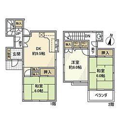 [一戸建] 神奈川県大和市中央林間西5丁目 の賃貸【/】の間取り