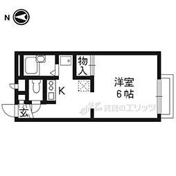 阪急京都本線 洛西口駅 4kmの賃貸アパート 1階ワンルームの間取り