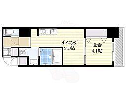 S-RESIDENCE江坂Eminence 9階1DKの間取り