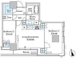 JR山手線 田町駅 徒歩13分の賃貸マンション 21階2LDKの間取り