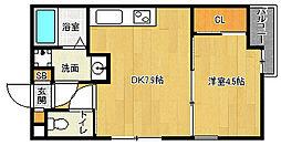 京都府京都市西京区桂南巽町の賃貸マンションの間取り