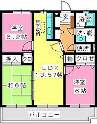 エクセレント岡本[4階]の間取り
