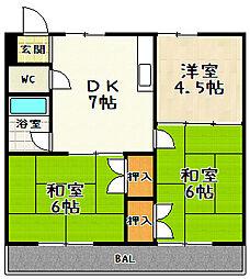 シャトレ森田[1階]の間取り