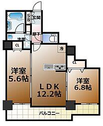 カスタリアタワー長堀橋[7階]の間取り