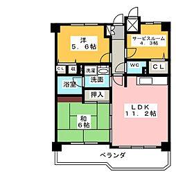 ライオンズマンション大野木公園[2階]の間取り