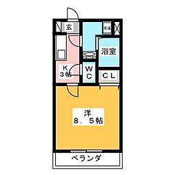 ゴオナカマンションII[4階]の間取り