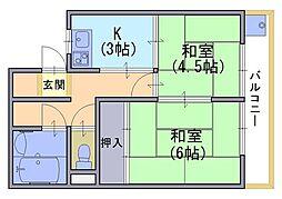 千鶴荘[3階]の間取り