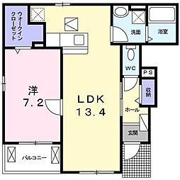 プロムナードメゾン弐番館 D 1階1LDKの間取り